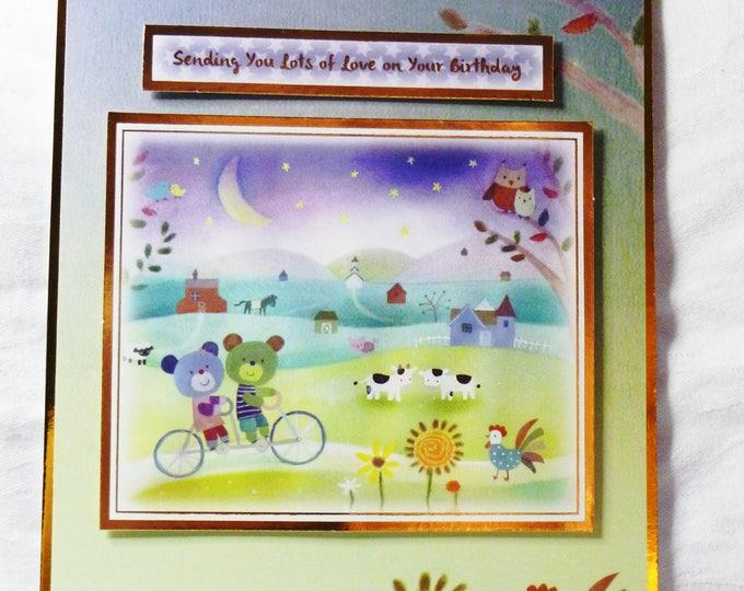 Bears on a Bike, Birthday Card, Greeting Card,  Farm Yard Animals, Boy or Girl, Personalised, Especially For You, Special Birthday Card