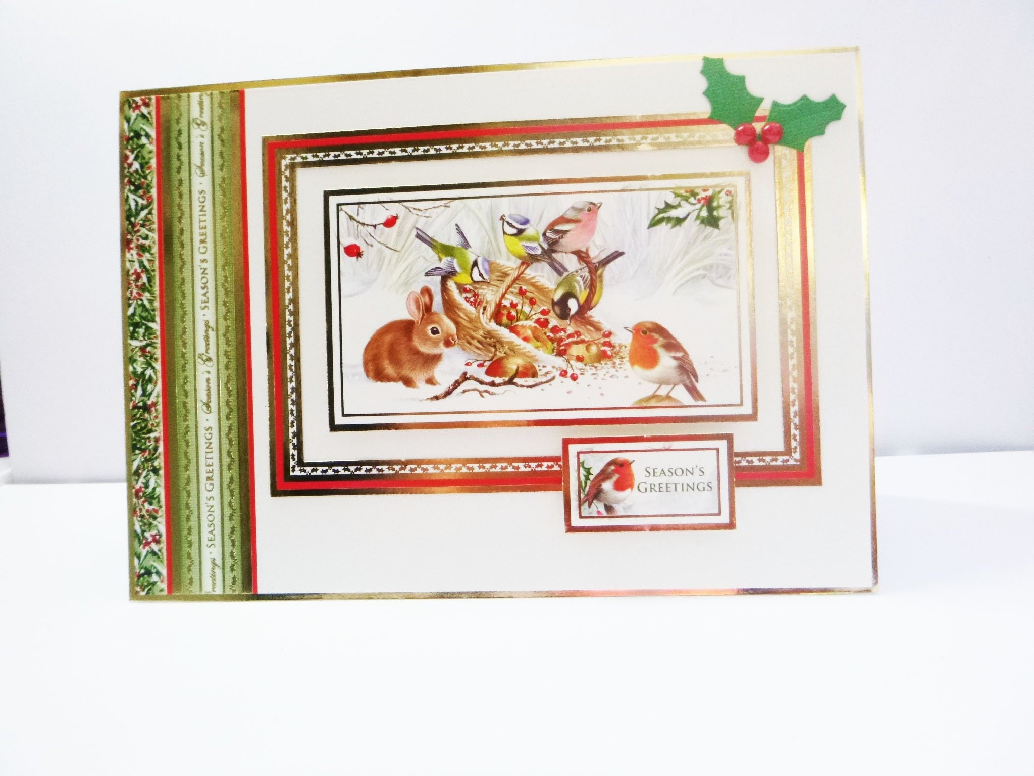 Animal Christmas Card Traditional Christmas Card Seasons Greetings
