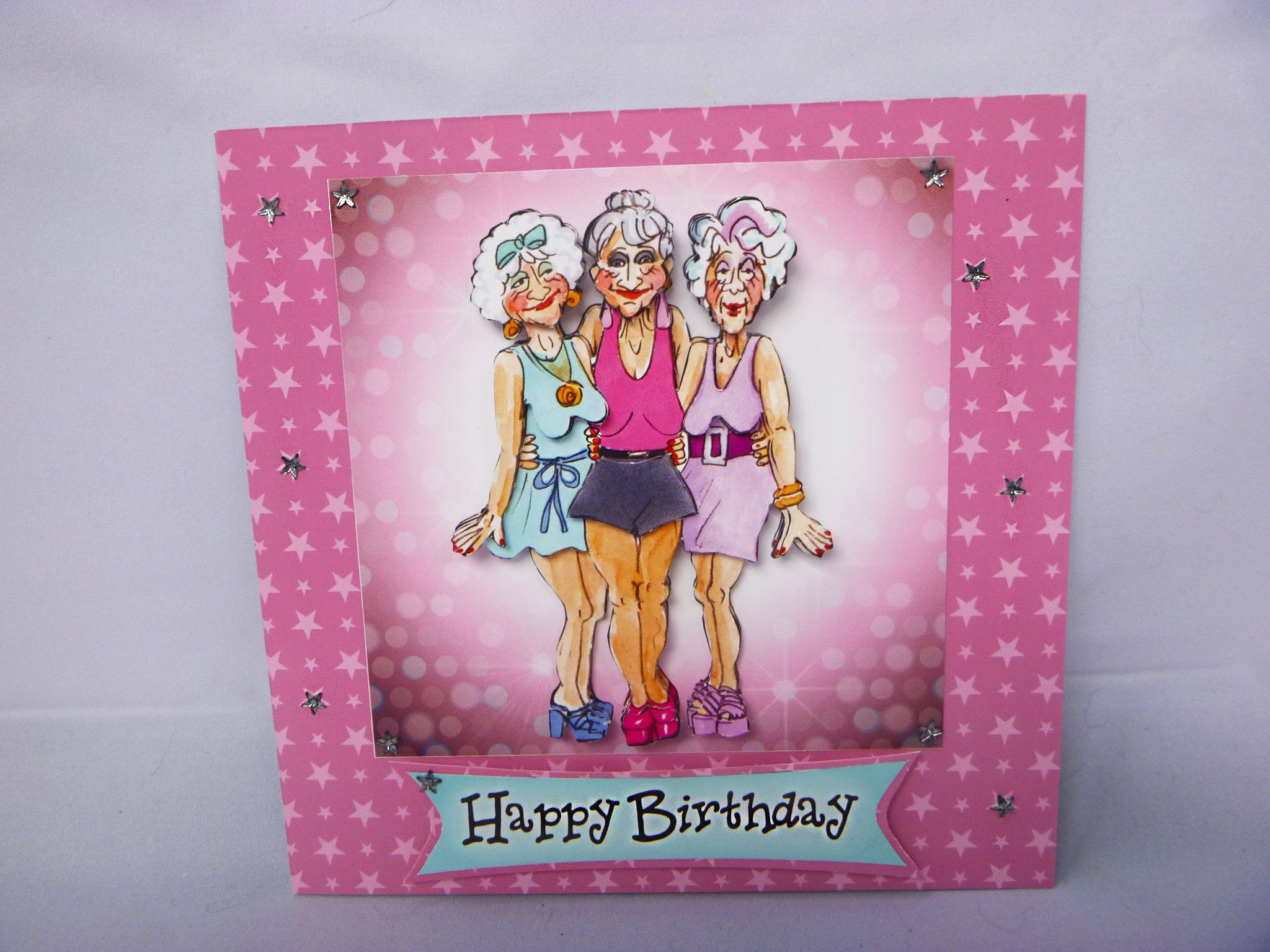 glamour girls card old girls card 3 d decoupage card happy birthday card personalised special birthday card best friends card - Special Birthday Cards