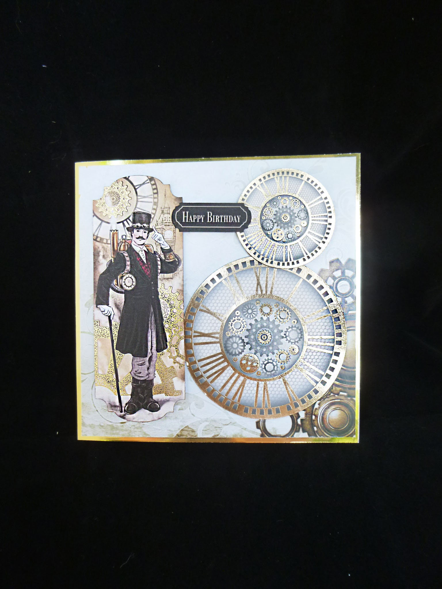 Retro Style Mans Card Vintage Card Steampunk Card Cogs And Wheels