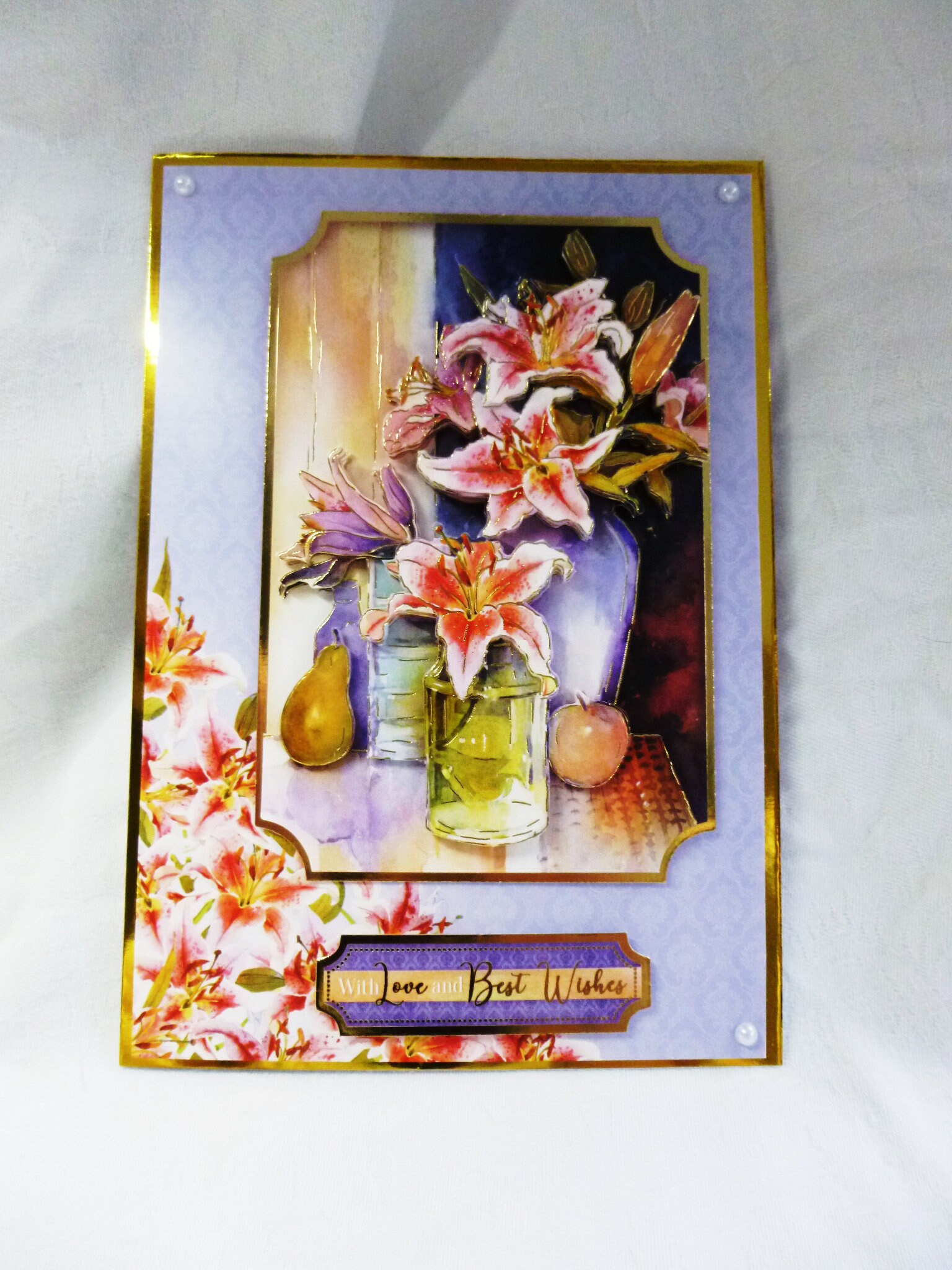 Lilies In A Vase 3d Decoupage Card Best Wishes Card Greeting Card
