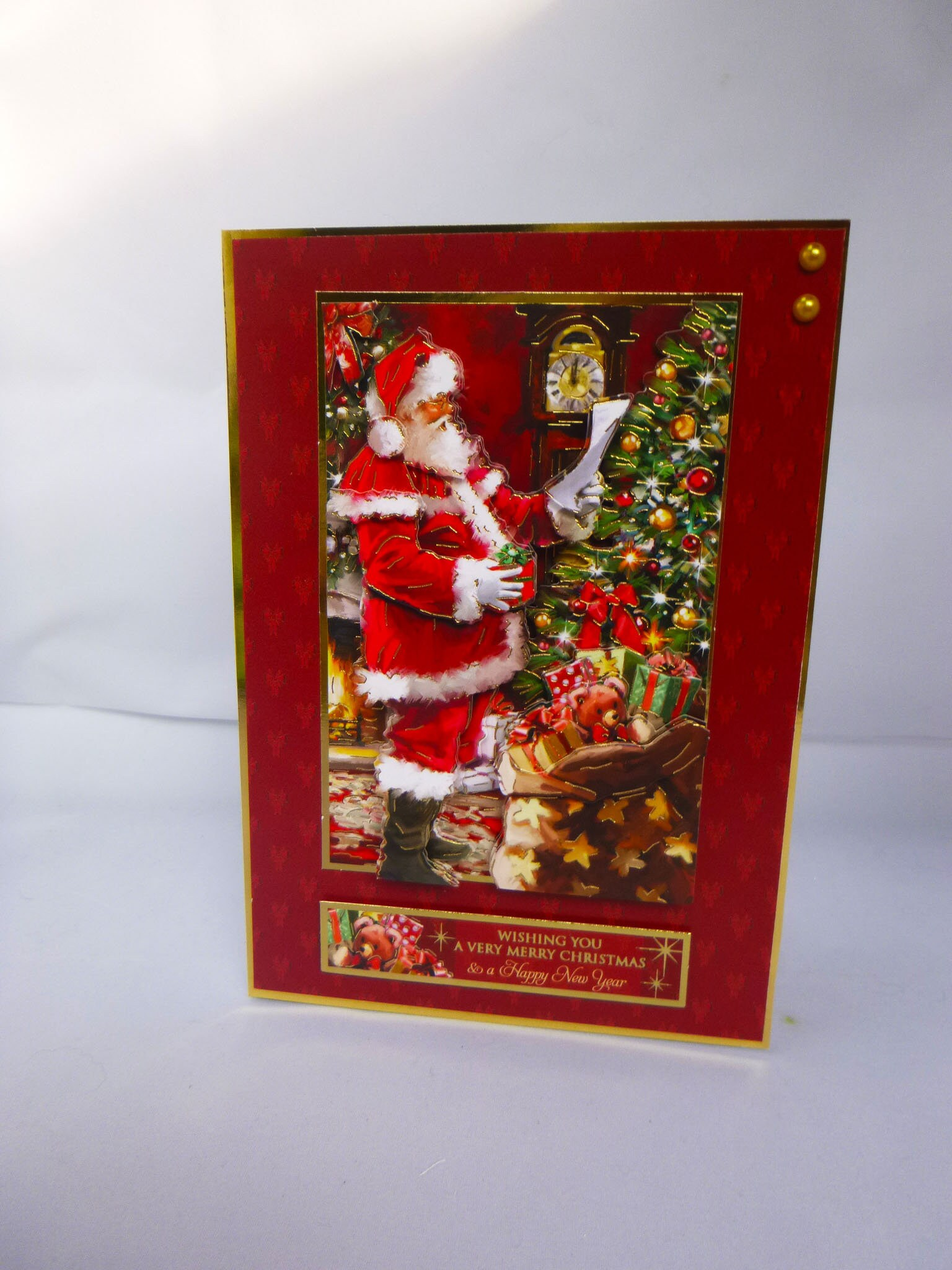 Santa 3D Decoupage Card, Santa with Presents, Christmas Greetings ...