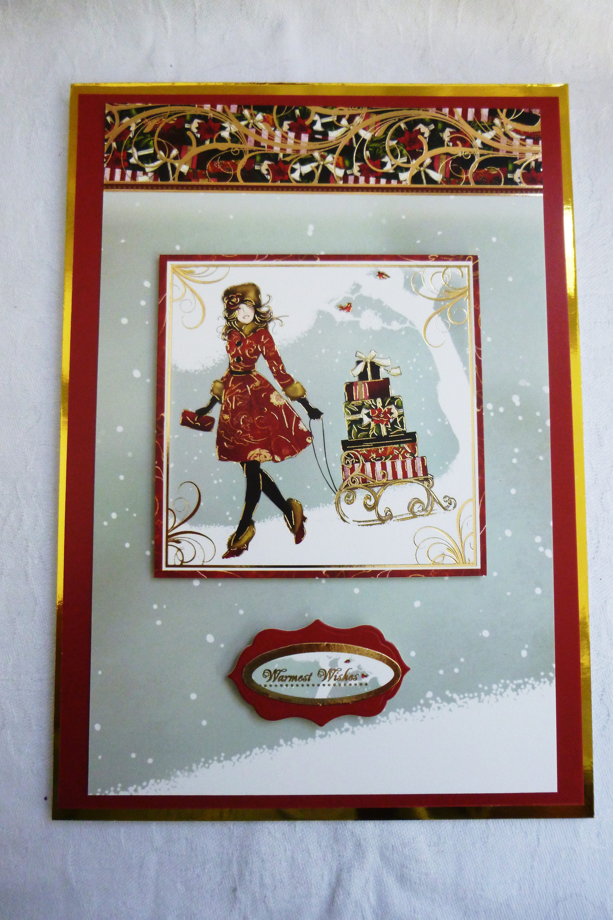 Christmas Card, Lady In The Snow, Greeting Card, Festive Scene ...