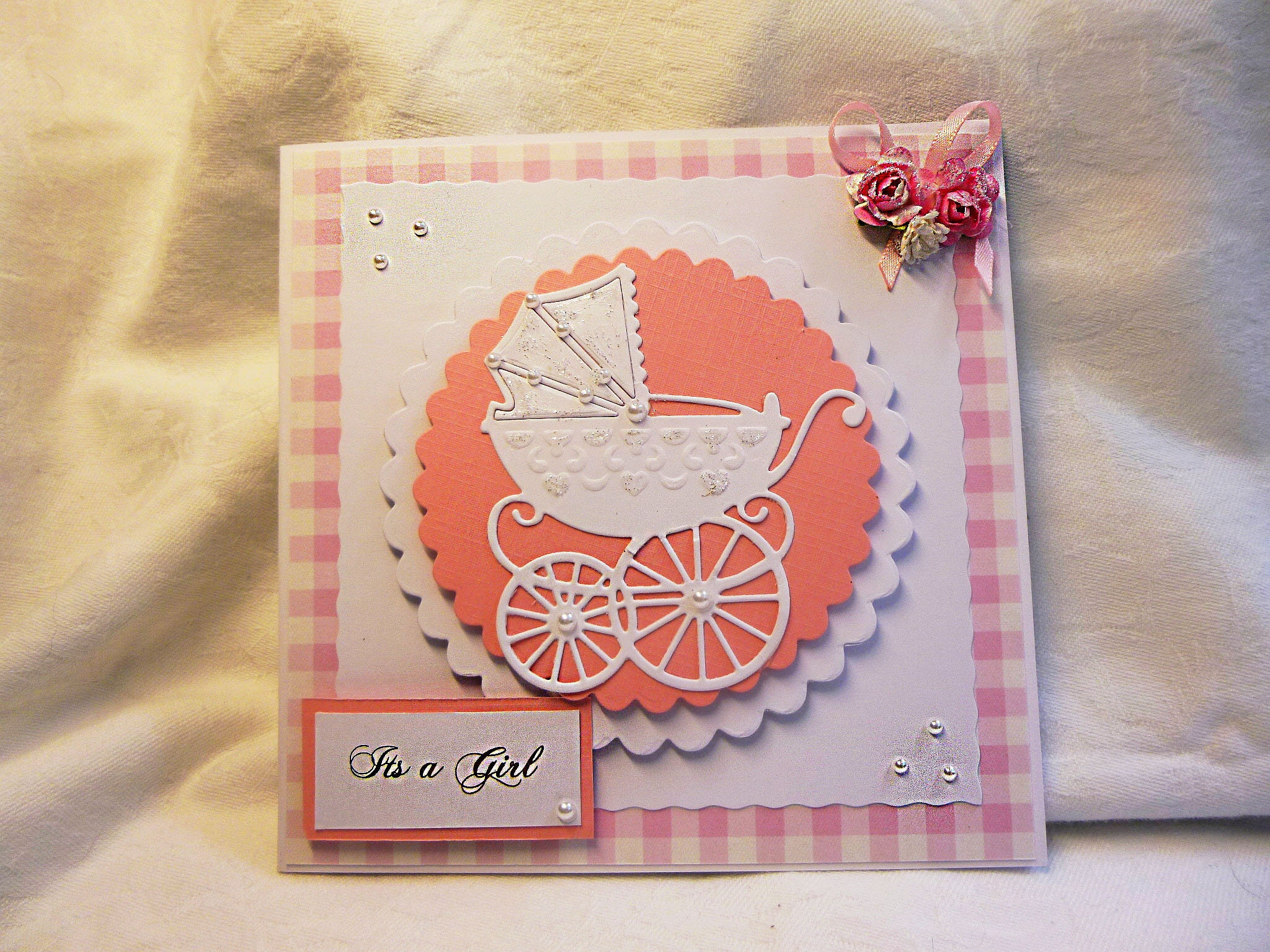 New born baby girl card just arrived new arrival card baby shower new born baby girl card just arrived new arrival card baby shower card card for baby girl pink and white baby card baby girl card m4hsunfo