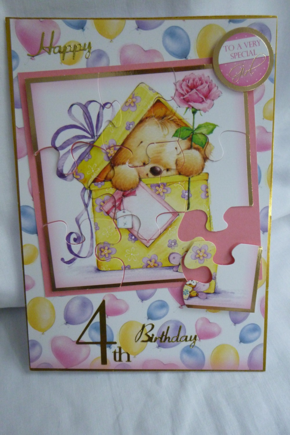 Girls Card Pink Teddy Puzzle Card Birthday Card Greeting Card 4