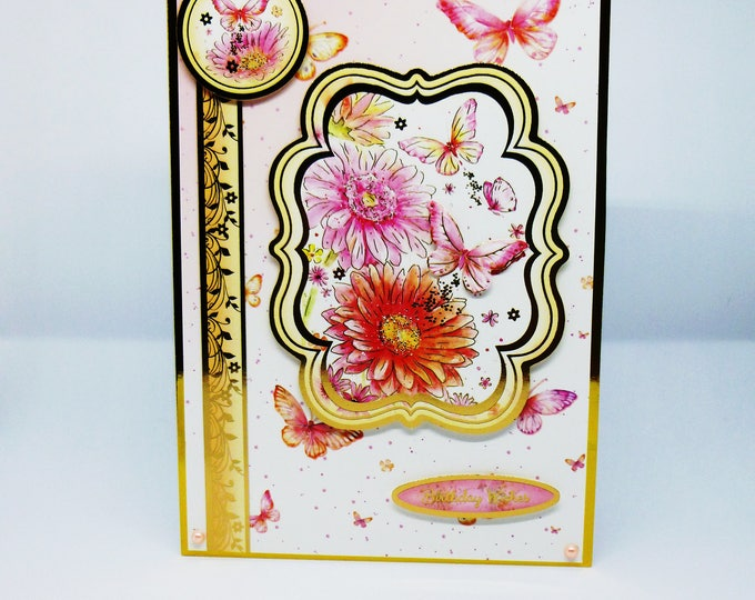 Floral Birthday Card, Flowers and Butterflies, Greeting Card,  Birthday Wishes, Pink Butterflies, Pink and Gold, Special Birthday.