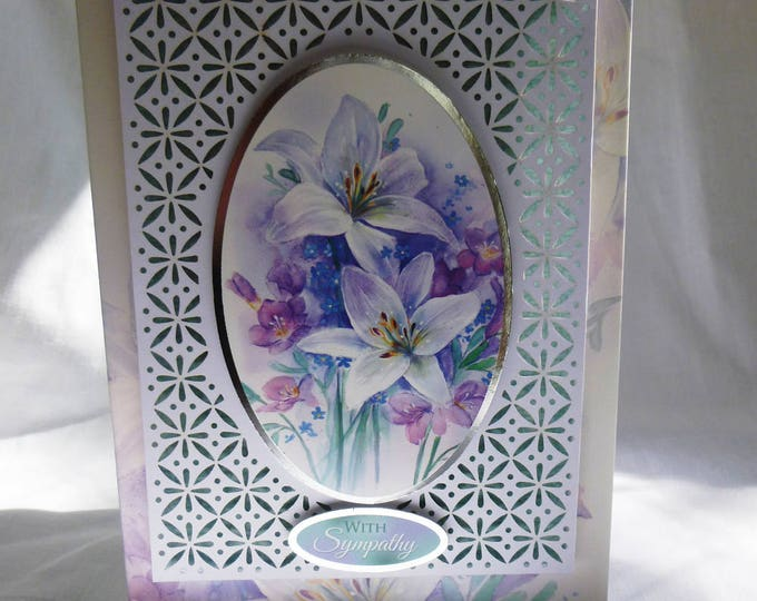 Sympathy Card, Sorry To Hear, Filigree Card, Decoupage Card, Lilies and Freesias, Male or Female, Any Age,