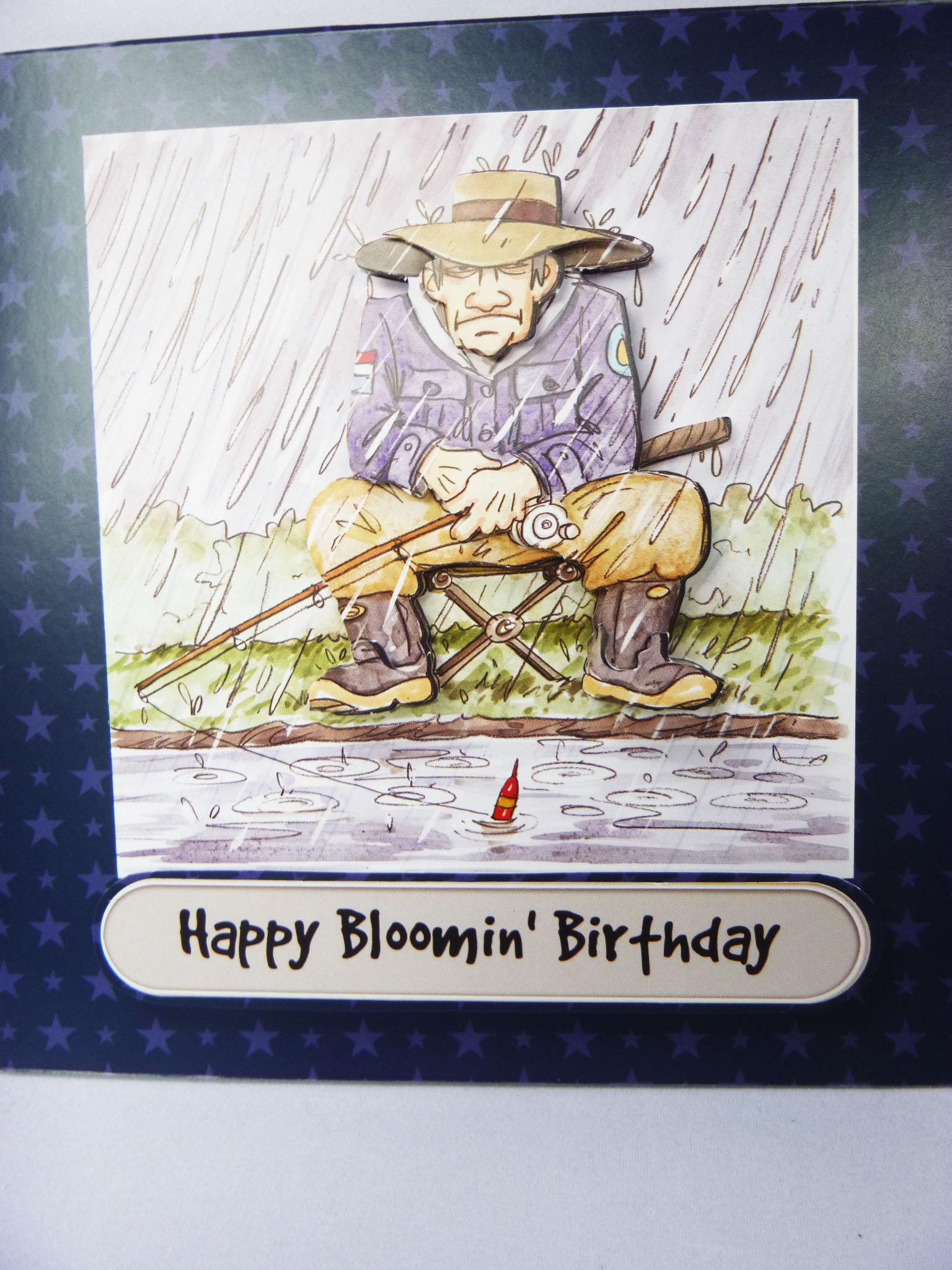 Fishing In The Rain Grumpy Old Man Birthday Greeting Card 3D