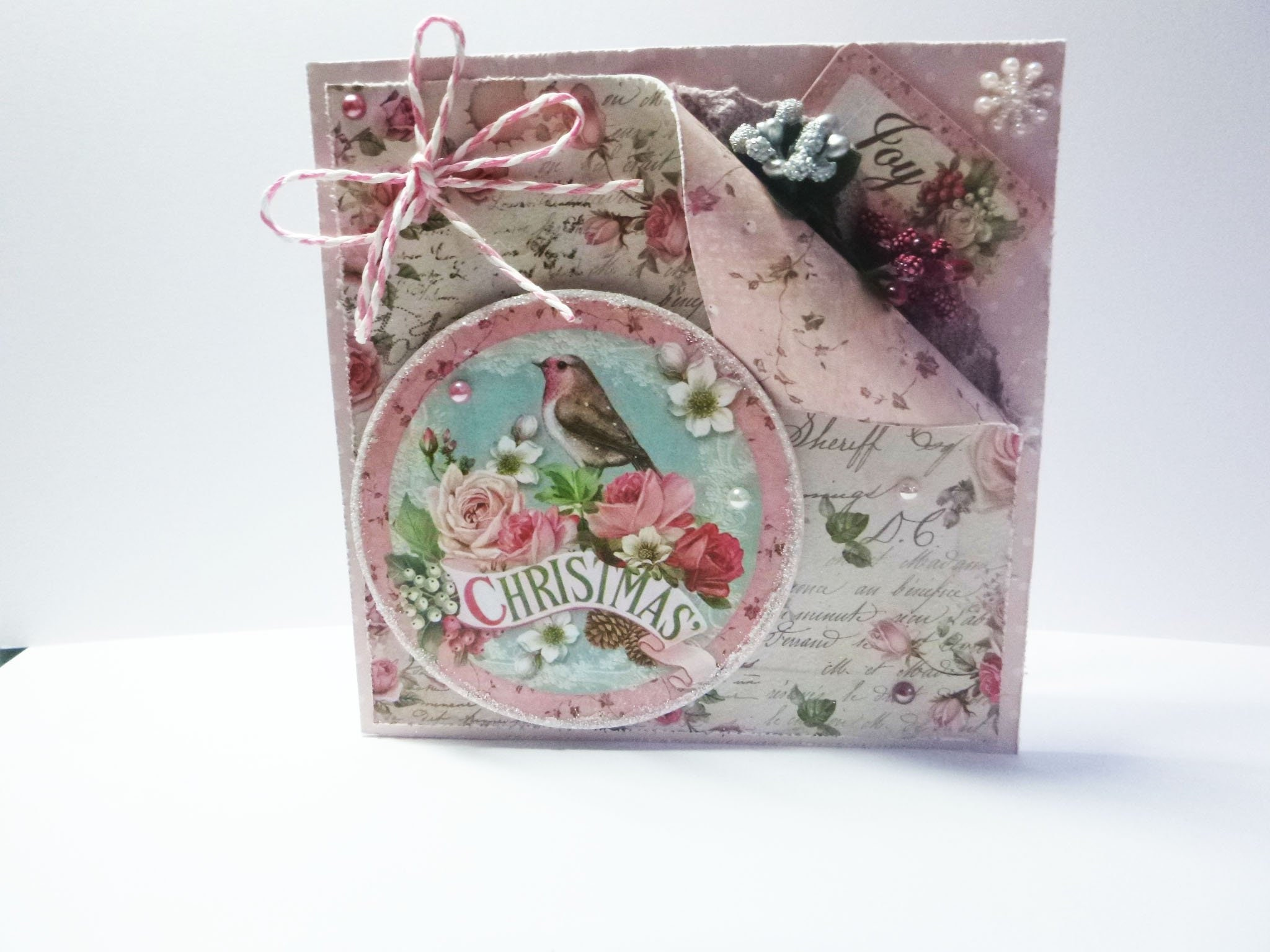 Vintage Style Christmas Card Shabby Christmas Card Flowers And