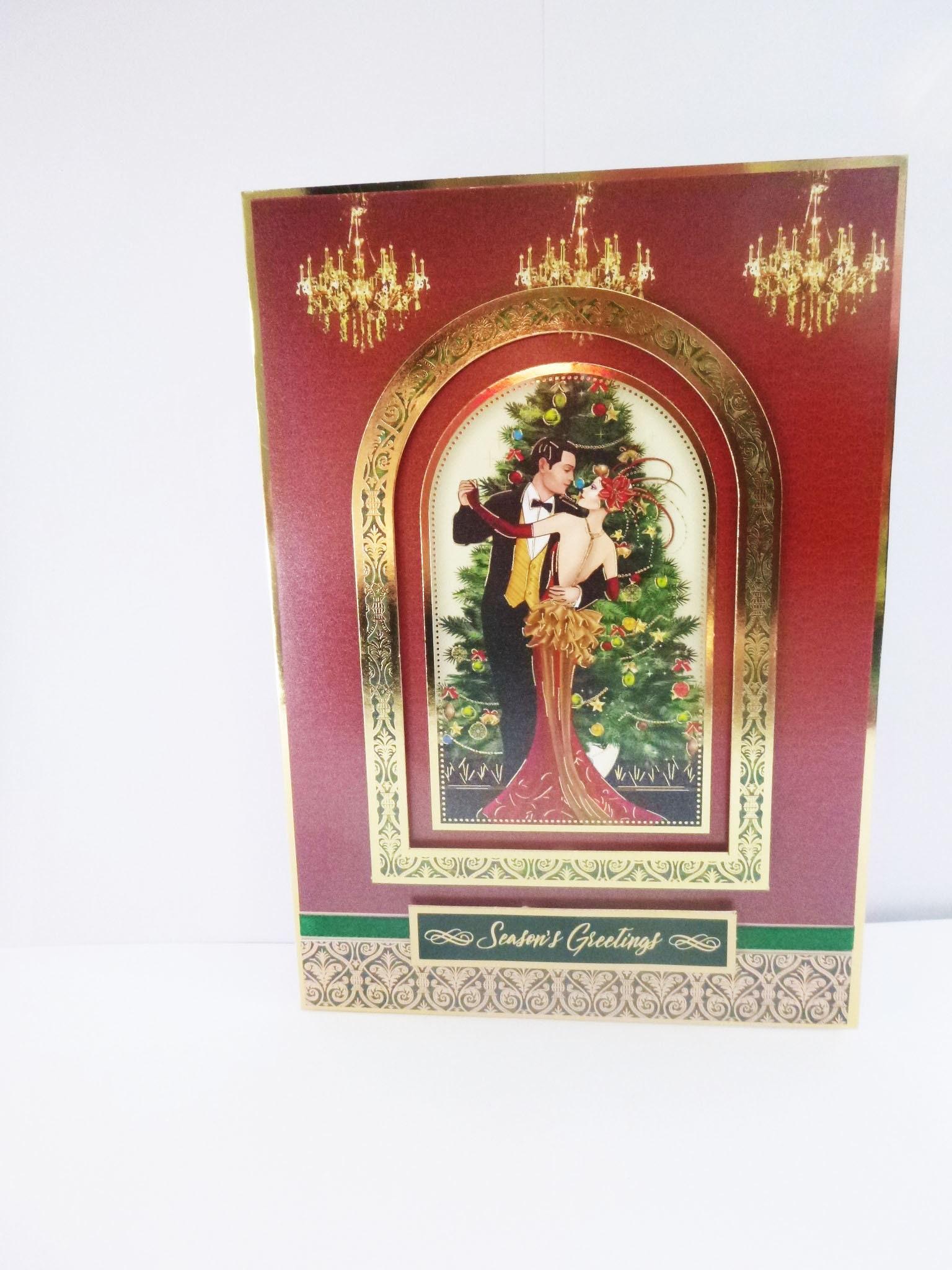 Art Deco Christmas Card, Couple Dancing, Vintage Christmas Card ...