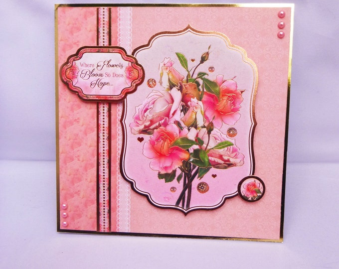 Floral Bouquet Of Roses, Pink Flowers, Special Birthday Card, Get Well Card, Anniversary Card, Special Day Card, Handmade In The UK