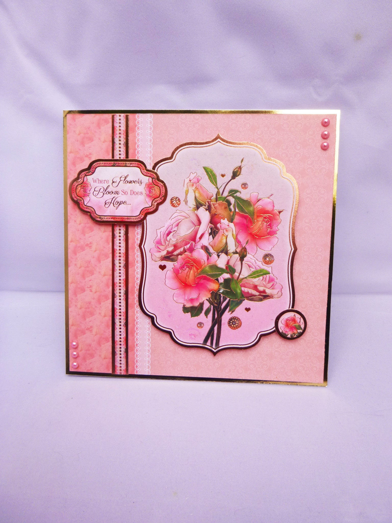 Floral Bouquet Of Roses Pink Flowers Special Birthday Card Get