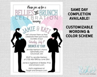 Joint baby shower invitation onesies digital printable file etsy double baby shower invitation bellies and brunch digital printable file filmwisefo