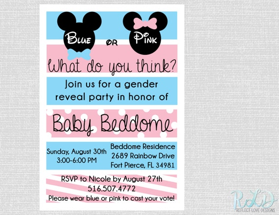 Zeer Gender Reveal Party uitnodiging Mickey Mouse Minnie Mouse | Etsy #UK08