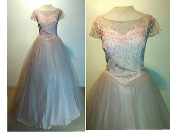 545dd01257 Vintage 50 s Pastel Blush Pink Mesh Net Tulle Cocktail Formal Ball Gown