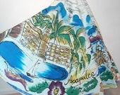 Vintage 50 39 s MEXICAN Novelty Print Handpainted Tourist Skirt 1950 39 s ACAPULCO Swordfish Palm Trees Divers Beach Fiesta Circle Skirt