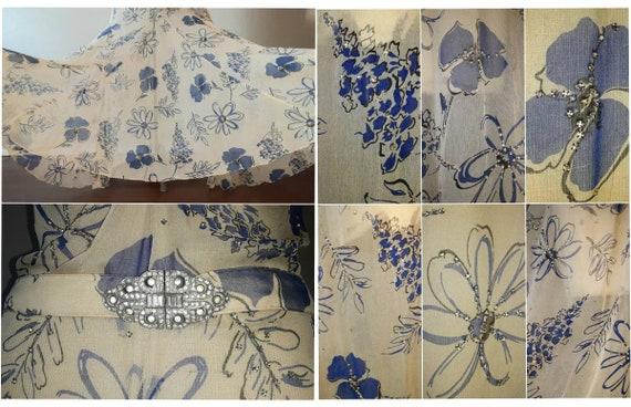 Antique 30's Art Deco Silk Chiffon Floral Print C… - image 9