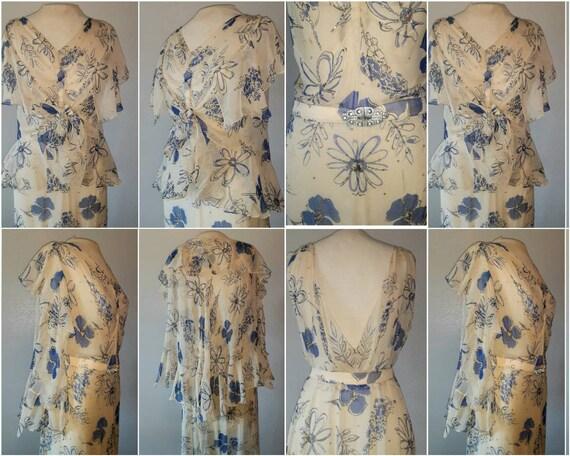 Antique 30's Art Deco Silk Chiffon Floral Print C… - image 5