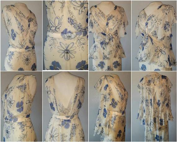 Antique 30's Art Deco Silk Chiffon Floral Print C… - image 4