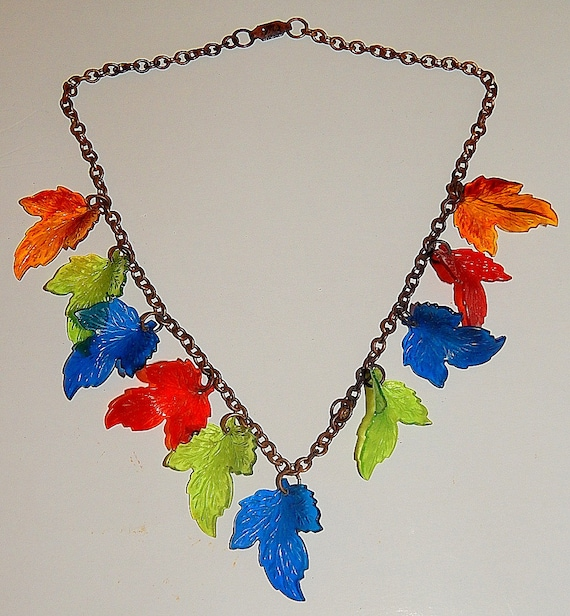 Vintage 40's 50's Plastic RAINBOW Leaves Dangle Ne