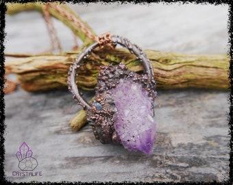 AMETHYST SPIRIT QUARTZ  + Tanzanite Crystal Pendant | Wiccan Jewelry | Larp | Handmade | Electroformed | Copper Jewelry | Raw | Crystals