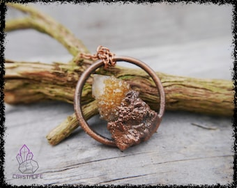CITRINE SPIRIT QUARTZ Crystal Pendant | Wiccan Jewelry | Larp | Handmade | Electroformed | Copper Jewelry | Raw | Crystal Pendant | Crystals
