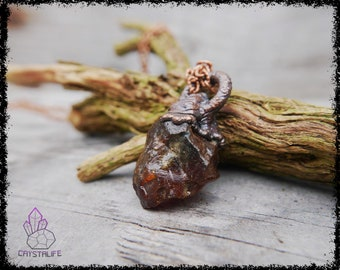 RAW DOMINICAN AMBER Crystal Pendant | Wiccan Jewelry | Larp | Handmade | Electroformed | Copper Jewelry | Raw | Crystal Pendant | Crystals