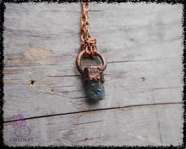 Mindfulness Gift Wanderlust Jewelry Copper Jewelry Wiccan Jewelry SAPPHIRE Gemstone Pendant Celestial Jewelry Yoga Accessories