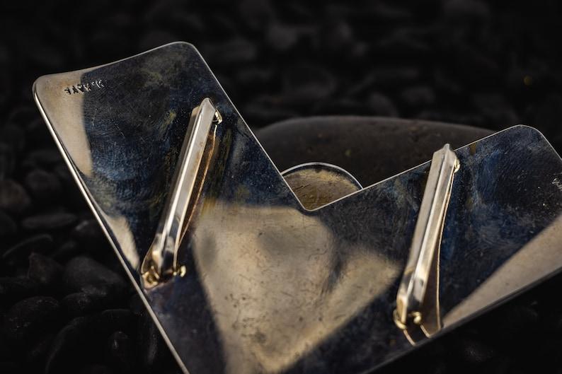 Length 7.5 cm FREE SHIPPING Vintage Malachite Oval Brooch Pin Natural Malachite Oval Brooch Pin Sterling Silver Malachite Brooch Pin