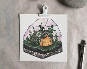 "A Little Solitude /  5"" x 5""  / Giclee Print / Plant Terrarium Illustration"