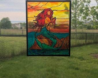 Mermaid painting on glass