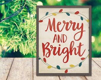 Merry and Bright Print - Christmas Print - Holiday Art - Christmas Quote - Digital Art - Printable Art - Wall Art