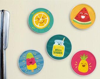 Summer Fun Glass Magnets - Fridge Magnet, Refrigerator Magnet, Locker Magnet, Office Magnet, Summer, Spring, Pineapple, Lemonade, Watermelon