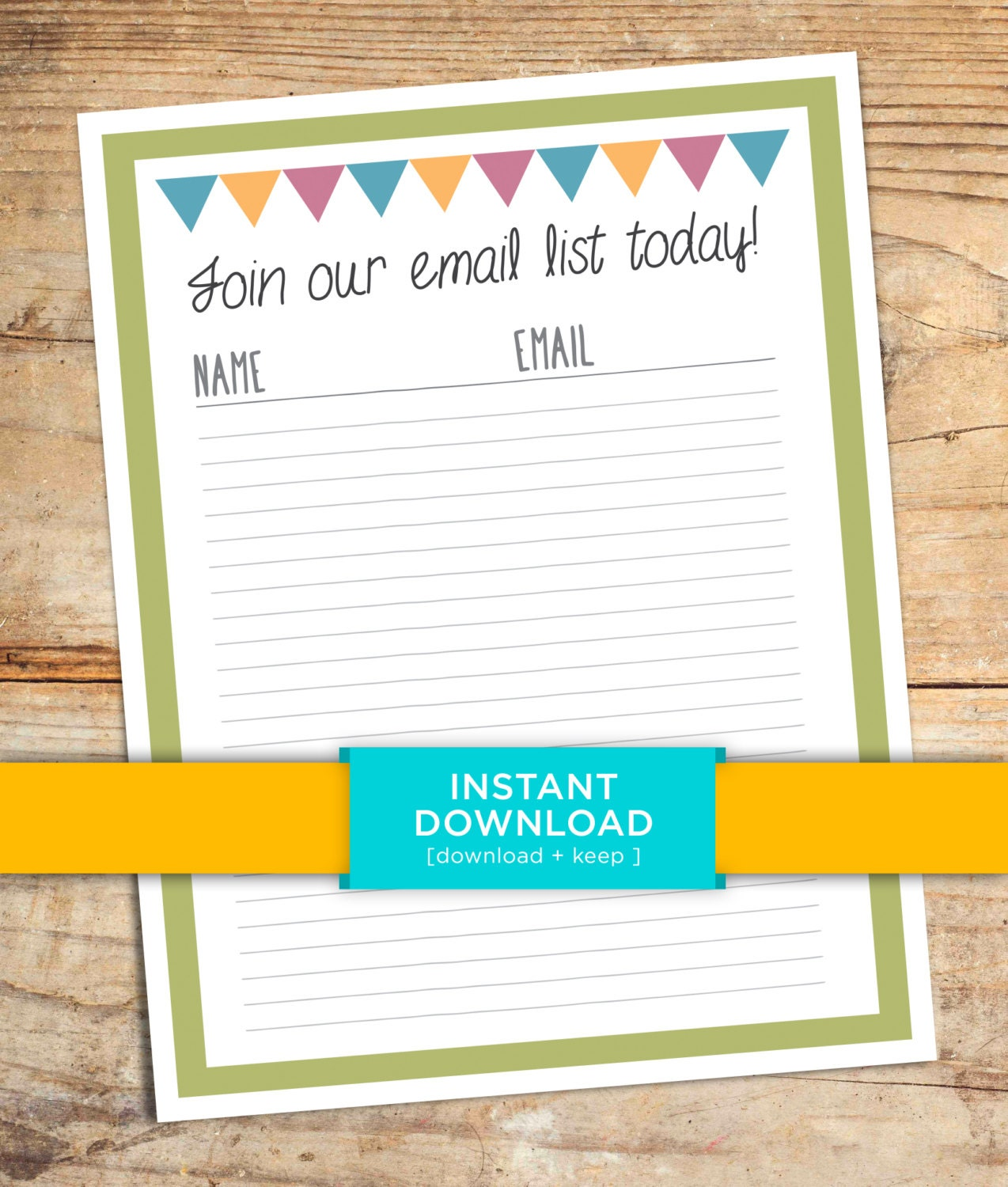Email List Sign Up Sheet Printable Marketing Documents Etsy