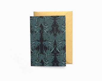 Mini Blank Tropical Card with Gold Envelope - C7 Size