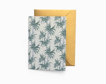 Mini Blank Tropical Palm Tree Card with Gold Envelope - C7 Size