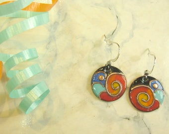 Earrings round, Fiesta Turquoise, round turquoise, enamel on copper, cloisonné, female, round earings gift, gift for women