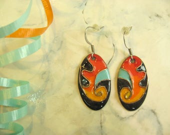 Earrings oval, Fiesta Turquoise, turquoise oval, enamel on copper, cloisonné, gift woman, turquoise earings, gift for women