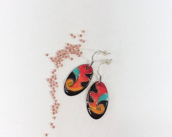 Oval earrings partitioned turquoise oval women/'s gift copper enamel gift for women turquoise earings Fiesta Turquoise