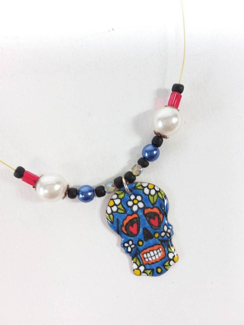 7f241c1d6 Skull pendant sugar skull sugar skull copper enamel woman | Etsy