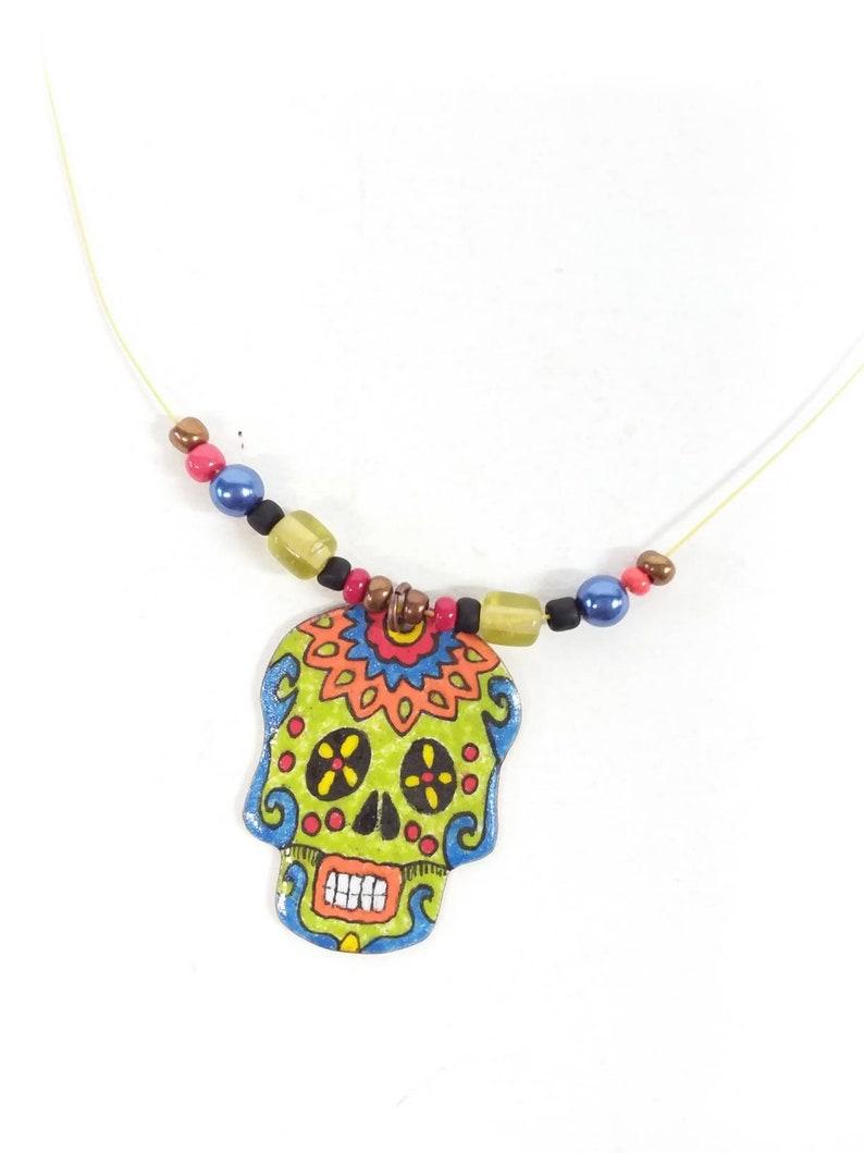 203e69b83 Skull pendant sugar skull sugar skull copper enamel lime | Etsy