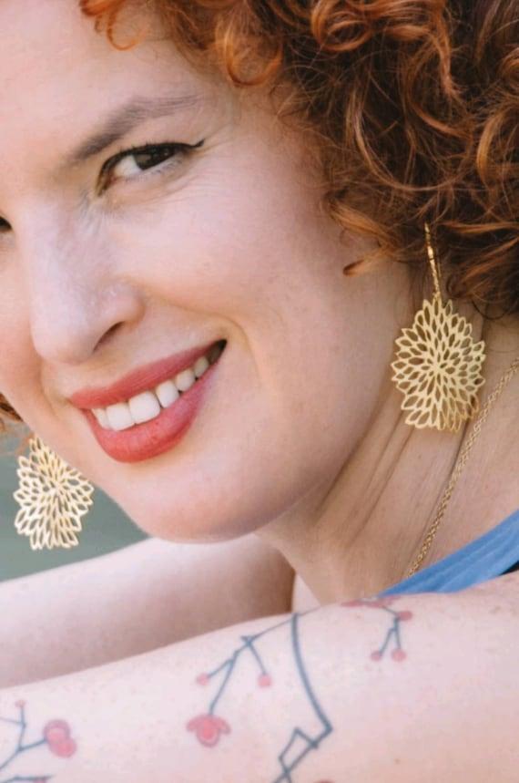 Dramatic Elegant Big designer earrings Bridesmaid. handmade drop earrings Wedding Woodland design Long gold statement leaf earrings