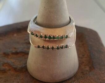 Emeralds sterling silver ring. Designer emerald ring. Multy gem minimalist design.  Birthstone ring. Designer Delicate ring. Valentine gift
