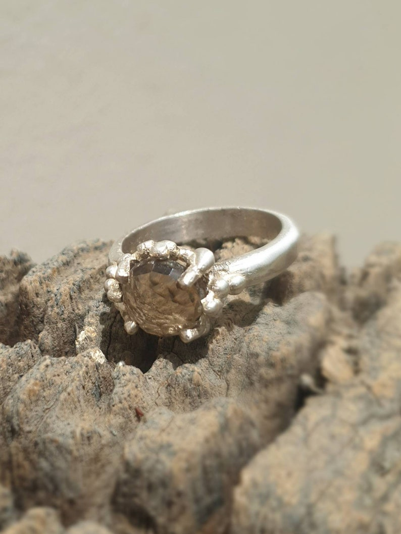 Size 8.5 ring matt finish. sterling silver smoky  quartz ring Ready to be shipped Brown Gemstone cocktail ring