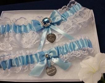 White lace garter set, Lt. blue satin, Acrylic Rhinestone Connector, personalized tag, Wedding garter, Bridal garter, Custom garter