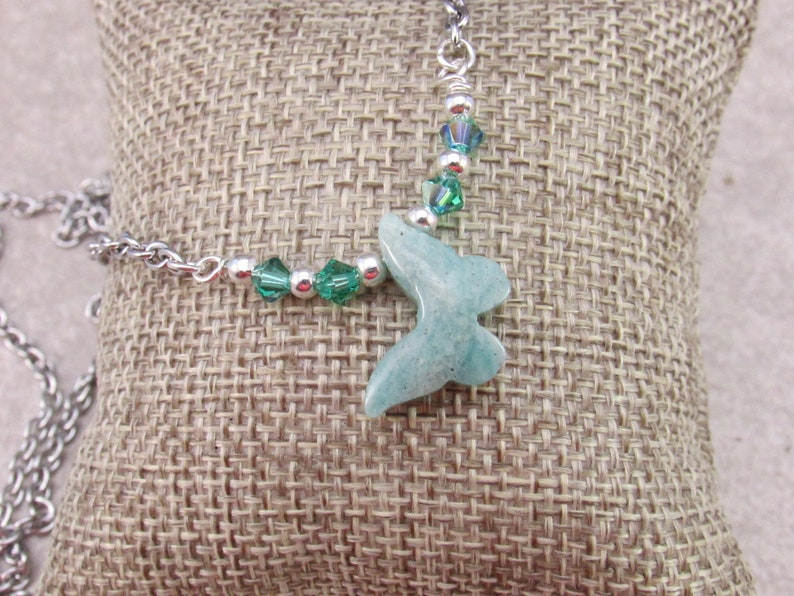 Butterfly Amazonite Gemstone Pendant and Crystal Necklace Energy Healing and Chakra Balancing
