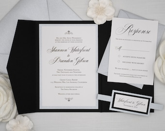 Formal Wedding Invitations, Black and White with Silver Accents, Silver Envelopes and RSVP Card included, Full Wedding Invitation set