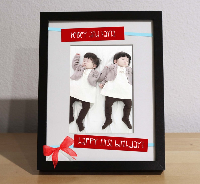 Baby Twins Gift TWINS FIRST BIRTHDAY Customized Frame
