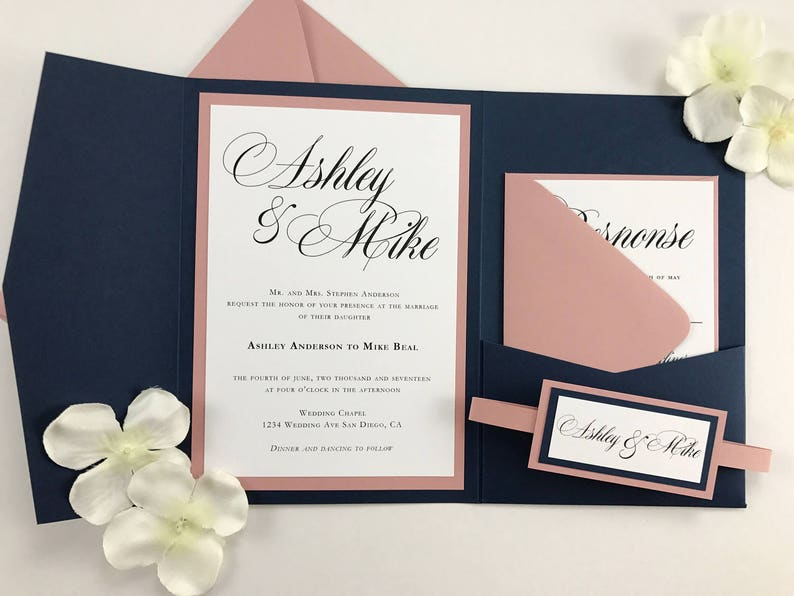 Navy and Dusty Rose pocket folder invites with belly band Navy image 0