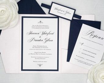 NAVY BLUE and BLUSH Pink Pocket Wedding Invitation Sets, Wedding Invites with pocket folder, rsvp card, belly band, and envelopes